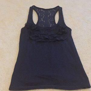 Abercrombie kids tank with lace ruffles and back.